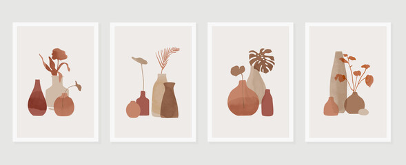 Obraz Botanical and vase wall art vector set. Floral and Foliage in bottle line art drawing with  abstract shape.  Abstract Plant Art design for print, cover, wallpaper, Minimal and  natural wall art. - fototapety do salonu