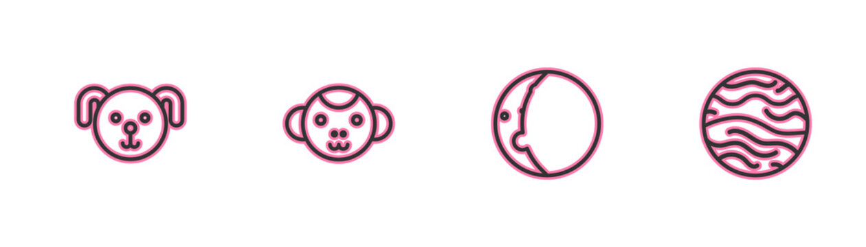 Set line Dog zodiac, Eclipse of the sun, Monkey and Planet Venus icon. Vector.