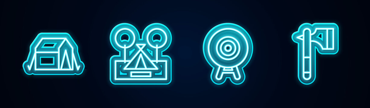 Set line Tourist tent, , Target sport and Wooden axe. Glowing neon icon. Vector.