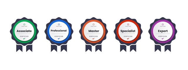 Obraz digital certification logo for training, competition, rewards, standards, and criteria etc. Certified badge icon with ribbon vector illustration. - fototapety do salonu