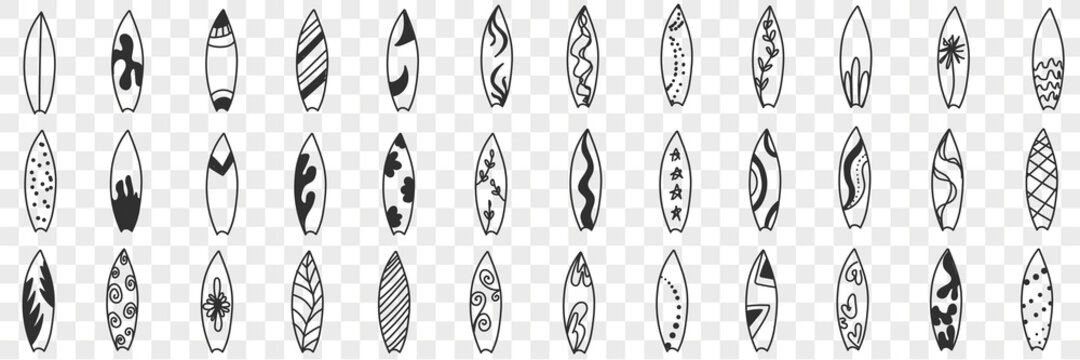 Surfboard and puddle board doodle set. Collection of hand drawn boards with various patterns for surfing and paddle boarding on water in summer sport equipment isolated on transparent background
