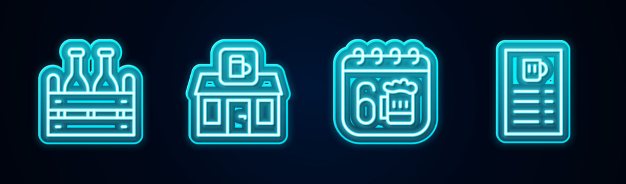 Set line Pack of beer bottles, Store building shop, Saint Patricks day calendar and Beer menu. Glowing neon icon. Vector.