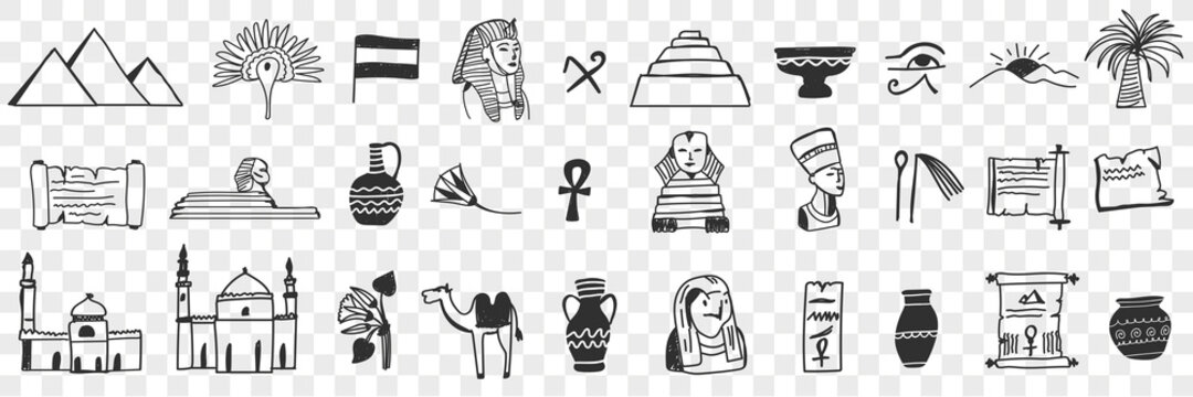 Sightseeings of Egypt doodle set. Collection of hand drawn egyptian traditional pyramids mosques pharaoh camels desert jugs flags palms for tourists during trip isolated on transparent background