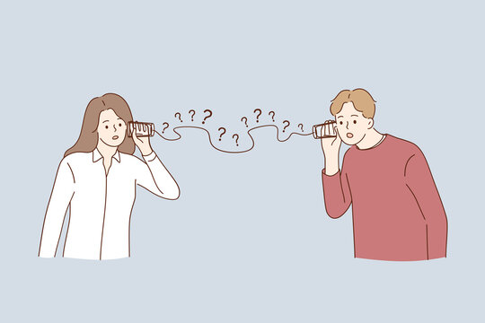 Misunderstanding, communication problems, questions concept. Man and woman couple cartoon characters having troubles in communication trying to hear each other with glasses and wire illustration