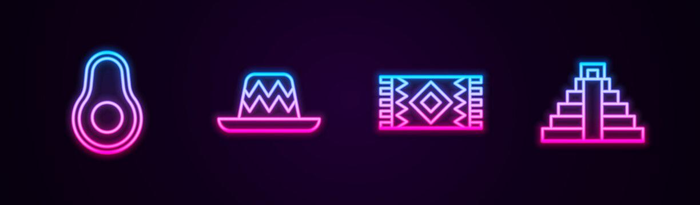Set line Avocado fruit, Mexican sombrero, carpet and Chichen Itza in Mayan. Glowing neon icon. Vector.