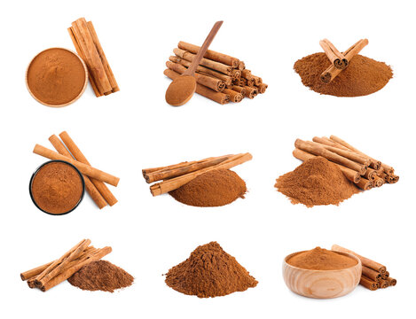 Set with aromatic cinnamon sticks and powder on white background