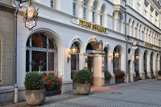 COLOGNE, GERMANY - SEPTEMBER 21, 2020: Peters Brauhaus local brewery and restaurant in Cologne, Germany. It specializes in traditional Kolsch (Koelsch) beer style, top-fermenting.