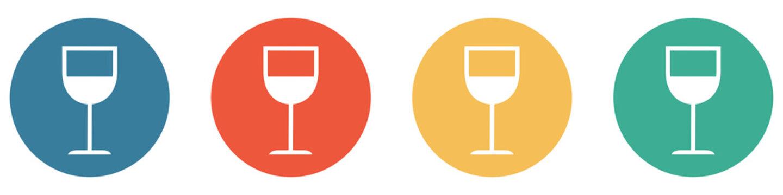 Bunter Banner mit 4 Buttons: Weinglas, Bar oder Getränk