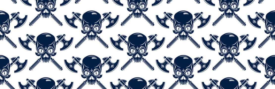 Black skulls seamless vector background, endless pattern with horror death sculls, stylish wallpaper of hard rock culture music fashion theme, gothic image.