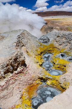 Geyser field Sol de Manana, Altiplano, Bolivia, South America.