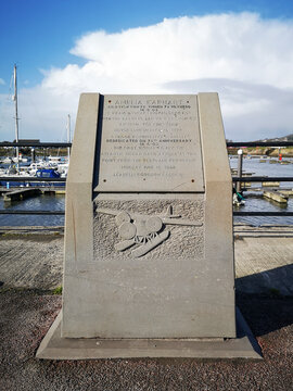 Burry Port, UK: February 18, 2021: Memorial in Burry Port Marina to Amelia Mary Earhart - who was the first female aviator to fly solo across the Atlantic Ocean in 1928.