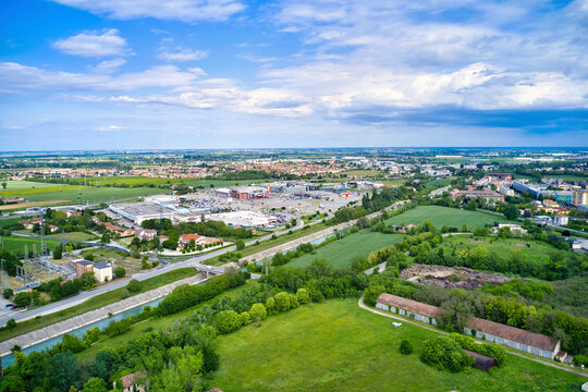 Italy, Mantua, city outskirts and shopping centers