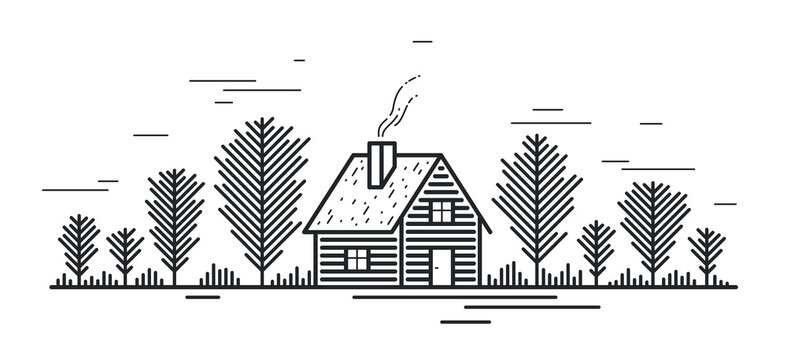 Cabin in woods pine forest linear vector nature illustration isolated on white, log cabin cottage for rest, holidays and vacations theme line art drawing, beauty in nature, woodhouse resort.