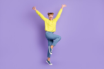 Wall Mural - Full length body size view of pretty cheerful crazy girl jumping having fun great news isolated over pastel violet color background