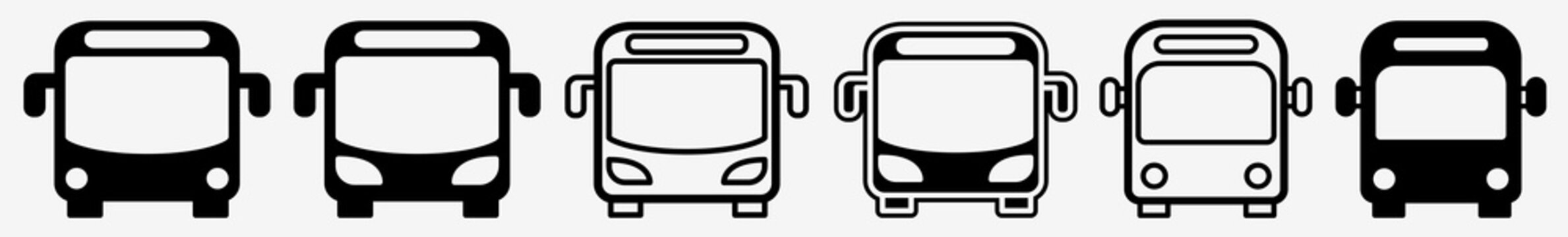 Bus Icon School Bus Sign Set | Busses Icon Shuttle Vector Illustration Logo | Transit Bus Public Bus Icon Isolated Collection