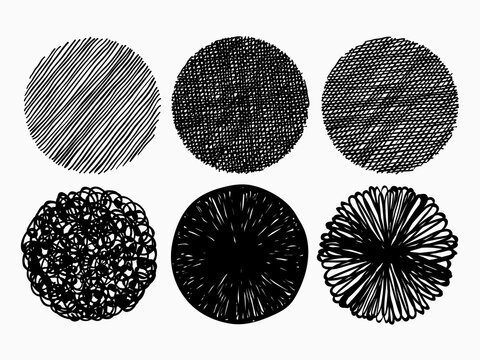 isolated circles stipple lines art brush set for texture background vector design
