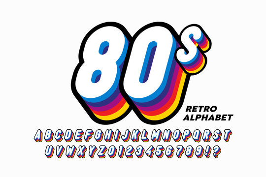 80's style colorful retro 3D font, alphabet letters and numbers