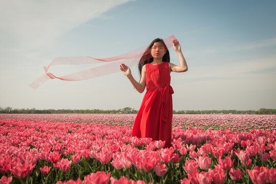 Teenage girl standing in a field of pink tulips wearing a red dress holding thin red  fabric in the wind
