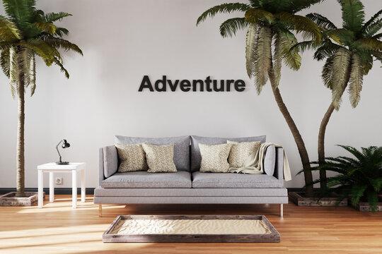 elegant living room interior with single vintage sofa between large palm trees; adventure lettering; travel conceptual; 3D Illustration