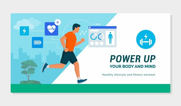 Man running and using a fitness tracker