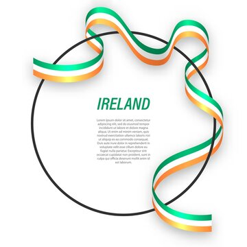 Waving ribbon flag of Ireland on circle frame. Template for independence day poster