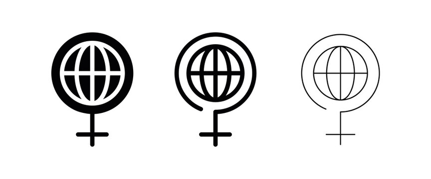 8 March International Women's Day icon design. Woman sign around the world. 8 March day icon. 8 March day logo-web icon.