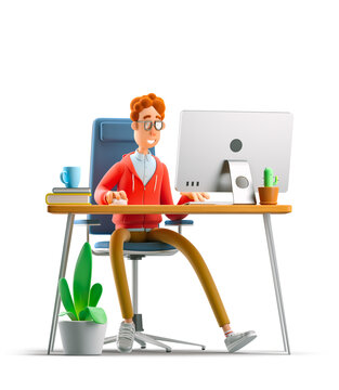 Nerd Larry sits at the table with a computer. 3d illustration.