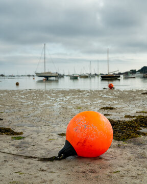 Orange buoy lying on the beach at low tide