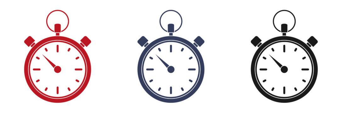 Set of stopwatch icon on a white background. Illustration
