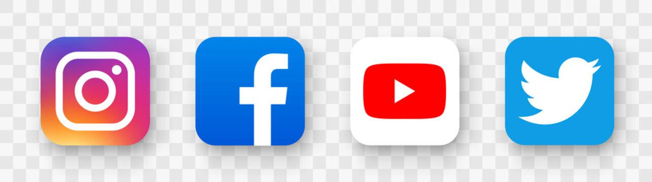Facebook, twitter, instagram, youtube, snapchat, pinterest, whatsap, linkedin, periscope, vimeo, tiktok ,viber - Collection of popular social media logo. Social media icons. Editorial vector.
