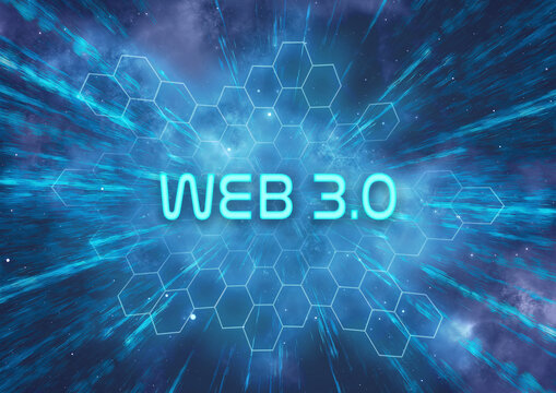 """A futuristic """"Web 3.0"""" typographical illustration that symbolizes the rapid progression in technology and connectivity"""