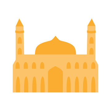 Mosque silhoette icon. Isolated on a white background. Flat illustration.