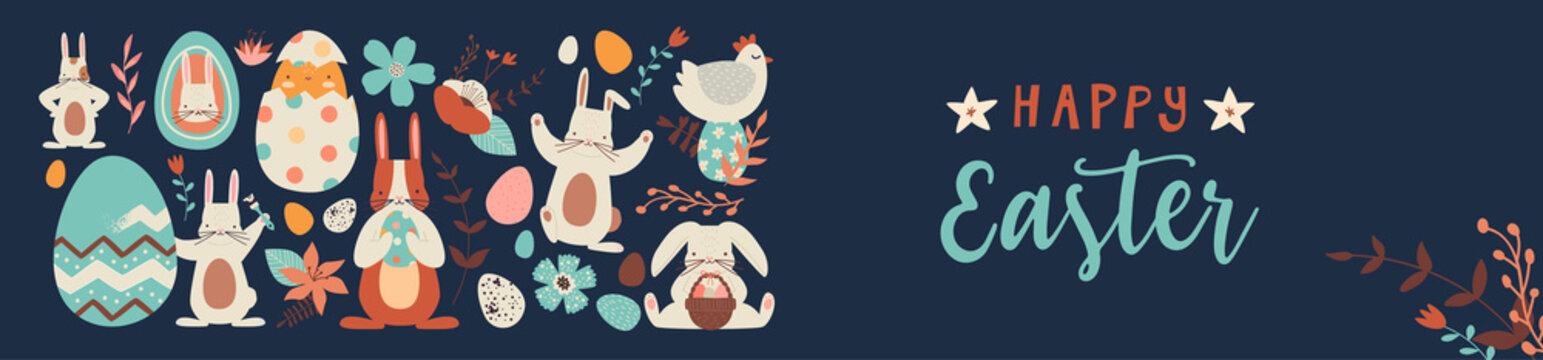 Happy easter cute folk rabbit egg doodle banner