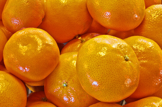A closeup view of a pile of mandarin oranges.