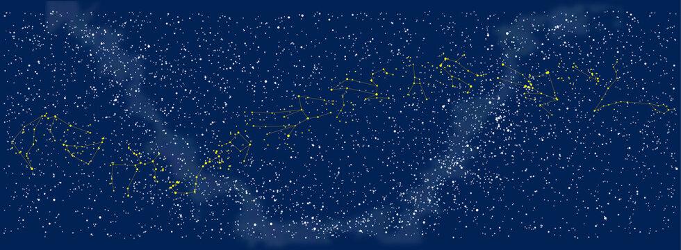 夜空に広がる黄道十二星座を全部描いたイラスト