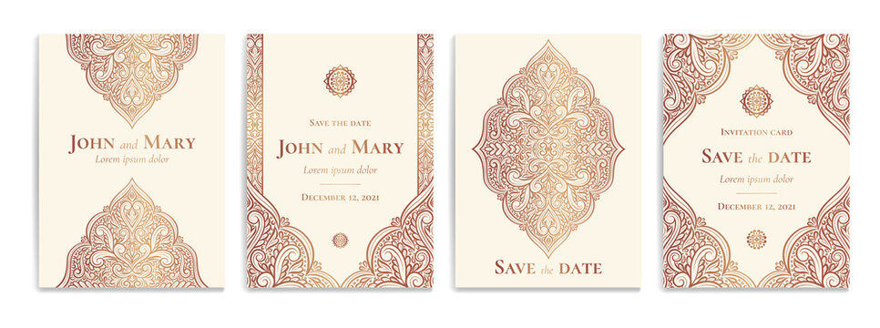 Beige invitation card with luxury golden pattern design on a white background. Vintage ornament template. Can be used for flyer, wallpaper, packaging or any desired idea. Elegant vector elements.