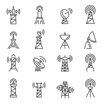 Radio towers, masts thin line icons set isolated on white. Satellite antenna, dish outline pictograms.