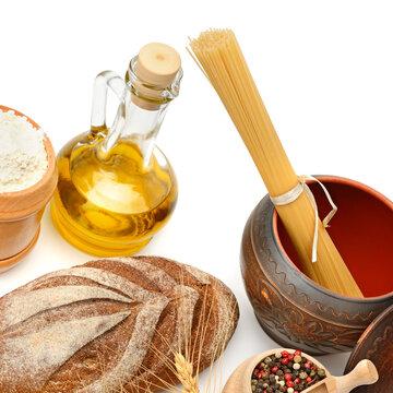 Bread, pasta, olive oil