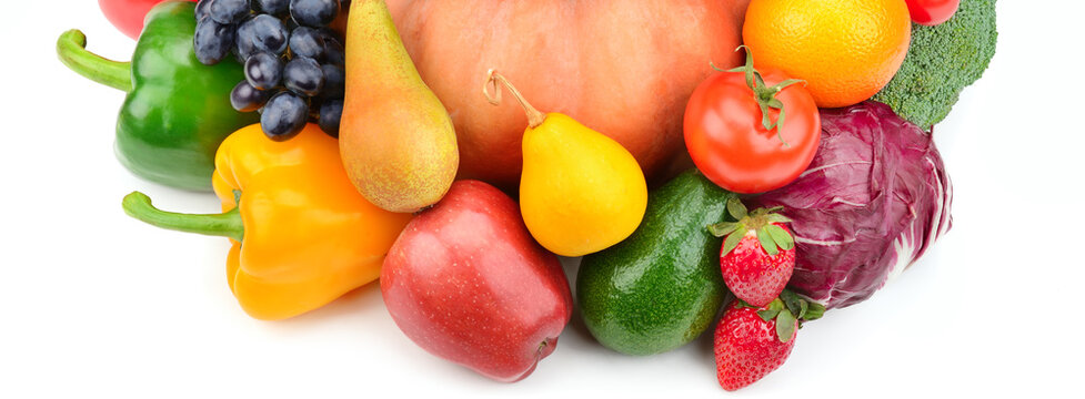 Fruits and vegetables isolated on a white background. Wide photo.