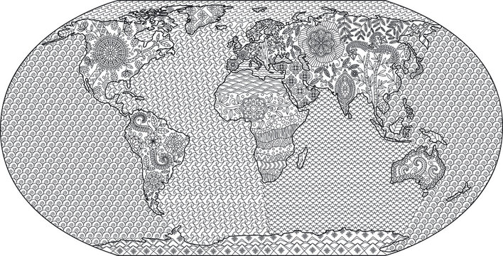 Coloring page of world map for adult antistress coloring book