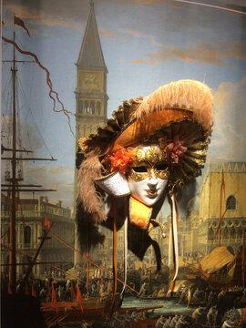 Russia. St. Petersburg 02.02.2020 Exhibition of Venetian masks
