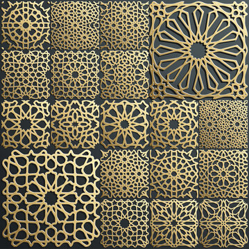 Gold ornament on black. Islamic pattern set. Arabic geometric pattern bundle, east ornament, indian ornament, persian motif. Eid mubarak wall art gold texture template.