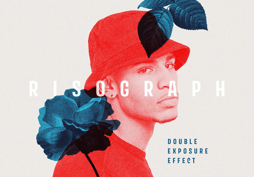 Risograph Double Exposure Photo Effect Mockup