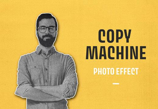 Realistic Photocopy Photo Effect Mockup