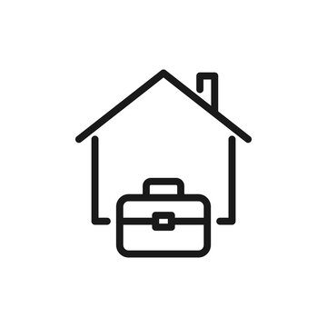 Work from home icon vector illustration. Remote work during pandemic lockdown.