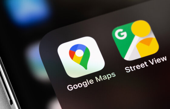 Google Maps, Street View icons app on screen smartphone, macro. Google Maps is a collection of applications built on the basis of a free mapping service. Moscow, Russia - January 17, 2021