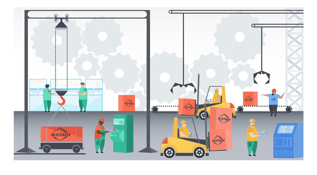Vector illustration. Factory workers. cardboard boxes of the industrial conveyor line. Factory construction machinery technological equipment, engineering structure stroke vector illustration.