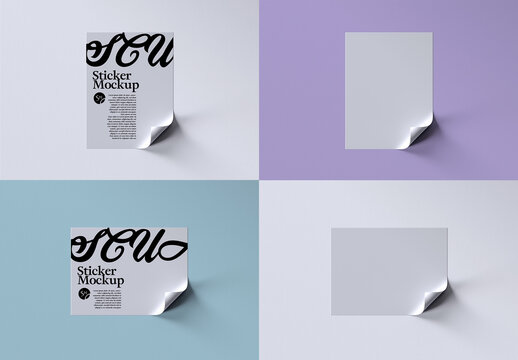 Rectangle Stickers Mockup Layout with Curled Corner