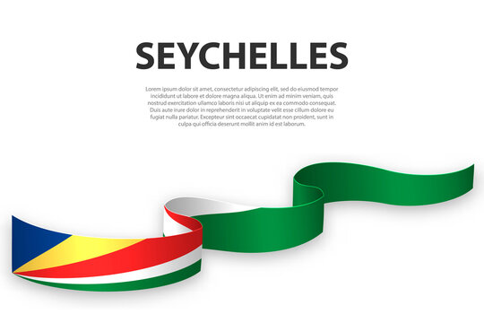 Waving ribbon or banner with flag of Seychelles