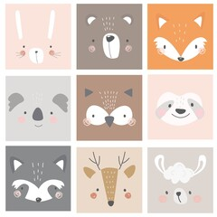A set of postcards with animals rabbit, bear, fox, koala, owl, sloth, raccoon, deer, llama on a colored background. Vector illustration for printing on fabric, packaging paper, postcards, posters